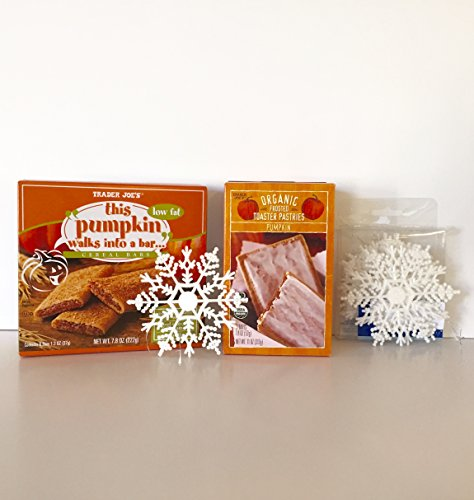 Trader Joe's Pumpkin Breakfast Bundle: Organic Frosted Toaster Pumpkin Pastries & This Pumpkin Walks Into a Bar Cereal Bar Plus a Free Set of 9 White Glitter Snowflake Ornaments (2+ Items)