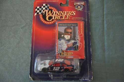 Winners Circle 1/64 scale diecast with collectible card 50th Anniversary Jeremy Mayfield #12 1998 Mobil 1 Ford Taurus - 1