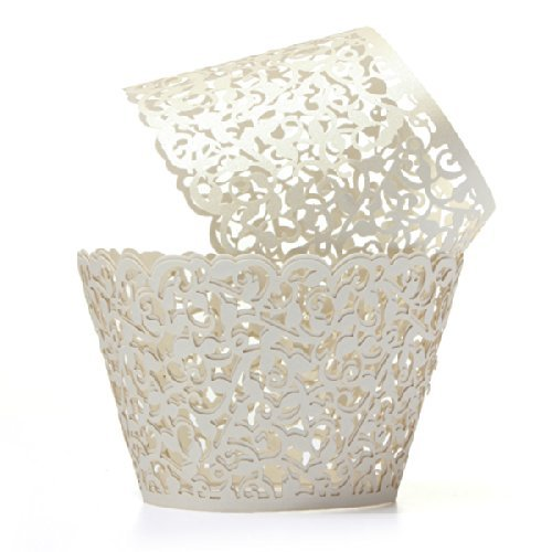 Baloray Filigree Little Vine Lace Laser Cut Cupcake Wrapper Liner Baking Cup Muffin Case Trays Wedding Birthday Party Decoration (Cream, 12)