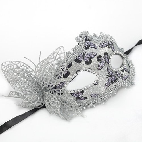 Venetian Butterfly Lace Masquerade Costume Party Eye-Catching Mask with Flower Sexy Silver