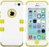 myLife Yellow - White Flat Matte Series (Neo Hypergrip Flex Gel) 3 Piece Case for iPhone 5/5S (5G) 5th Generation Smartphone by Apple (External 2 Piece Fitted On Hard Rubberized Plates + Internal Soft Silicone Easy Grip Bumper Gel)