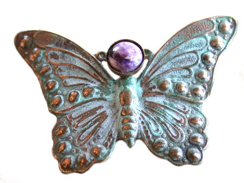 Verdigris Patina Solid Brass Butterfly Pin - Chariote