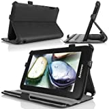 MoKo Slim-Fit Multi-angle Folio Cover Case for Lenovo IdeaTab A1000 7-Inch Android Tablet, BLACK