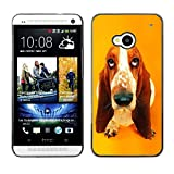 Smartphone Protective Case Hard Shell Cover for Cellphone HTC One M7 CECELL Phone case Basset Hound  Pendant Ear Dog