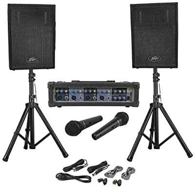 """Brand New Peavey Audio Performer Pack 5 Piece Portable PA System with Two PVi10 10"""" speaker enclosures, two PVi100 dynamic cardioid microphones, and PVi® 4B mixer and Two speaker stands"""