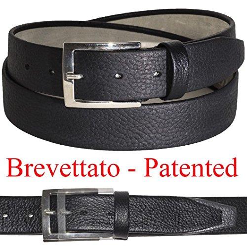 Cinture uomo taglie forti in pelle CON SISTEMA ELASTICO BREVETTATO made in Italy 35mm