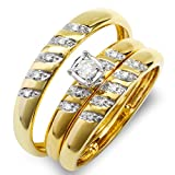 0.15 Carat (ctw) 10K Yellow Gold Round White Diamond Men & Womens Engagement Ring Trio Set