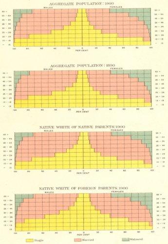Usa: Conjugal Marital Status Demographics, 1890-1900, 1900 Map