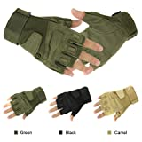 NSSTAR Military Half-finger Fingerless Tactical Airsoft Hunting Riding Cycling Gloves (L, Green)