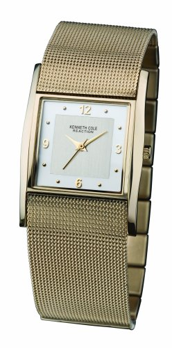 Kenneth Cole Stainless Steel Ladies Silver White Analogue Dial Mesh Gold Plated Bracelet Watch