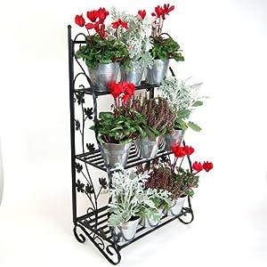 Etag res pour fleurs et plantes en fer forg design feuilles noir jardin - Etageres plantes exterieur jardiland ...