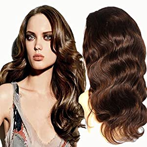 A&R@ Brazilian Lace Front Human Hair Women Wigs With Baby Hair 4#/Brown Color 150 Density Body Weave Wig Medium Cap Size 26