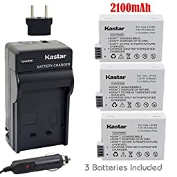 Kastar Battery (3-Pack) and Charger Kit for Canon LP-E8, LPE8, LC-E8E work with Canon EOS 550D, EOS 600D, EOS 700D, EOS Rebel T2i, EOS Rebel T3i, EOS Rebel T4i, EOS Rebel T5i Cameras and BG-E13 Grip