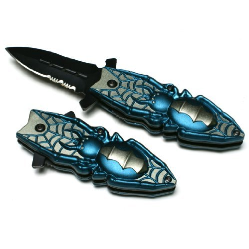"Beetle Or Spider Blue Color Design Spring Assisted 6"" Pocket Knife,"