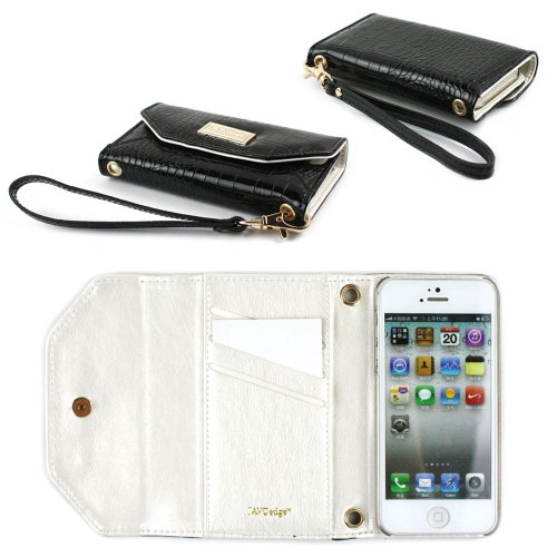 Special Sale JAVOedge Croc Clutch Wallet Case with Wristlet for the Apple iPhone 5s, iPhone 5 (Black)
