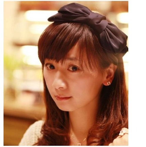 [emo's style: Mecha mote ♪ you can choose from Ribbon headband Navy Black Burgundy 3 colors! (Black)