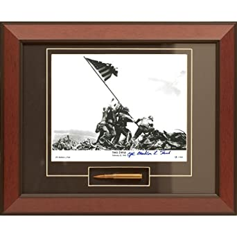 Century Concept Iwo Jima Framed Photograph Signed by Survivor Mahlon Fink