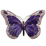 Purple Enamel Crystal Butterfly Pin Brooch
