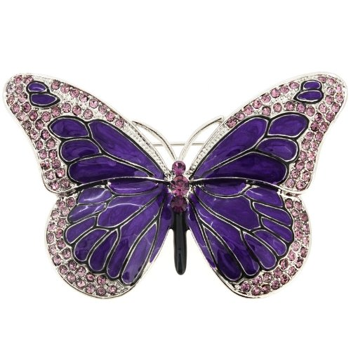 Purple Enamel Crystal Butterfly Pin Brooch