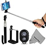 Selfie Accessory Kit for iPhone (6, 5/5s, 4/4S) and Android Phones (Samsung Galaxy, Nexus, HTC, SONY, LG, Motorola) - Includes: Extendable Monopod + Adjustable Phone Holder + Wireless Bluetooth Remote Control Shutter + MagicFiber Microfiber Screen Cleaning Cloth