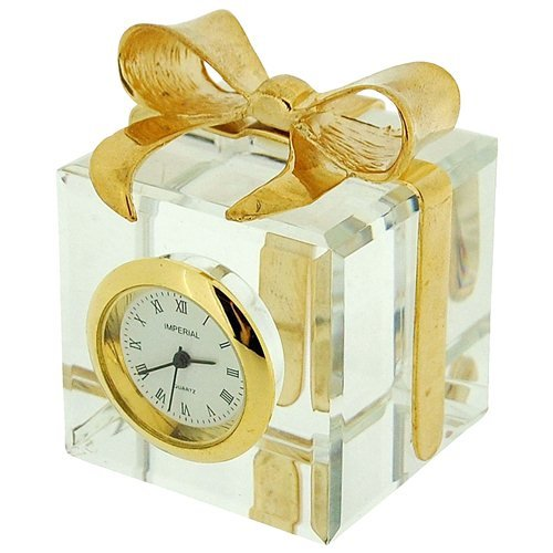 Miniature Gold Plated Crystal Gift Box & Bow Novelty Collectors Clock Imp507