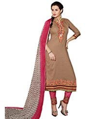 Surat Tex Brown Color Embroidered Cotton Jacquard Un-Stitched Dress Material-D600DL3451KE