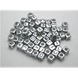 Alphabet Beads Cube Letter 6x6mm 100/pkg Silver Color ~Jewelry Making~