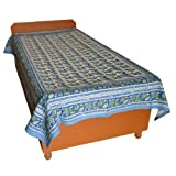 Block Printed Floral Bagru Print Design Cotton Flat Single Bed Sheet - B00GSSOR20