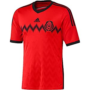 adidas MEXICO FMF AWAY JERSEY 2014 (SMALL/ADULTS, RED/BLACK)