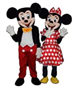 Adult Size Mickey and Minnie Mouse Couple Mascot Costume a Pair Birthday Party Mascot