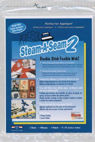 "Best Prices! Warm Company Steam-A-Seam 2 Double Stick Fusible Web-9""X12"" Sheets 5/Pkg"