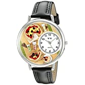 ピザ 黒レザー シルバーフレーム時計 #U0310016