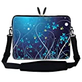 "15 15.6 inch Blue Swirl Design Laptop Sleeve Bag Carrying Case with Hidden Handle & Adjustable Shoulder Strap for 14"" 15"" 15.6"" Apple Macbook, Acer, Asus, Dell, Hp, Sony, Toshiba, and More"
