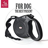 BUYBAR Retractable Dog Leash (26ft) One Button Lock ON/OFF Comfortable Ergonomic Hand Grip Designed Sturdy Nylon Pet Leashes Great for Walking & Running(L,Black)