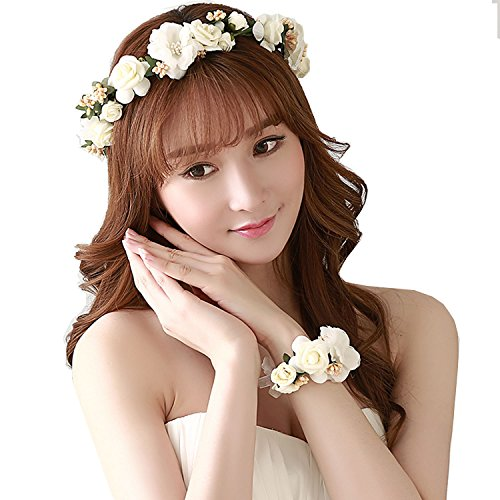 Prohouse Women's Flower Crown Bride Floral Hair Wreath Floral Headband Garland Wrist Band 2pcs/set for Wedding Festivals