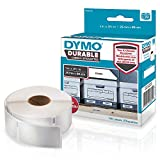 "DYMO LW Durable Labels for LabelWriter Label Printers, White Poly, 1"" x 3-1/2"", Roll of 100 (1976200)"