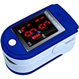 AVAX 50DL - Finger Pulse Oximeter - %SpO2 (Blood Oxygen Saturation) & Heart Rate Monitor with Instructions, Lanyard & Carry Case (in RETAIL PACKAGING) - BLUEby AVAX