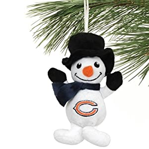 NFL Chicago Bears Football Christmas Ornament Plush Snowman With Hat