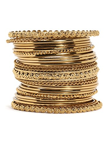 Bindhani Antique Look Gold Plated Traditional Bracelet Bangle set for women(2.6)