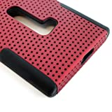 myLife (TM) Crimson Red and Dark Raven Black Perforated Mesh Series (2 Layer Neo Hybrid) Slim Armor Case for the Nokia Lumia 920 920.2 920T and 920 4G Camera Smartphone by Microsoft (External Rubberized Hard Shell Mesh Piece + Internal Soft Silicone Flexible Gel)