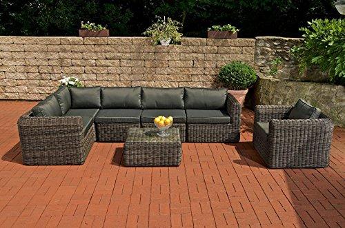CLP Luxus Polyrattan Gartengarnitur MARBELLA, aus 5 mm Rund-Rattan, mit Aluminiumgestell (5er Sofa, Sessel, Tisch 70 x 60 cm, 10 cm dicke Polster, Kissen) grau meliert, Bezugfarbe: schwarz