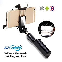 Selfie Stick, JoyGeek Wired Selfie Monopod with Mirror and Light for iPhone Se/6s/6/6 Plus/5s, Samsung Galaxy S7/S6/Edge, Note 5/4, Nexus 6P/5X, LG, Moto, Huawei, all Android Phones (Black)