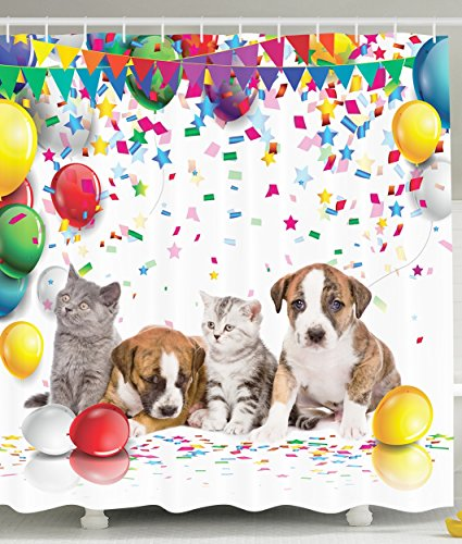 Party Dogs and Cats Celebration Balloons Party Decor Cute Decorations for Kids Nursery Bathroom Accessories Fabric Shower Curtain Yellow Red Blue Green Purple Gray Brown White (Balloon Shower Curtain compare prices)