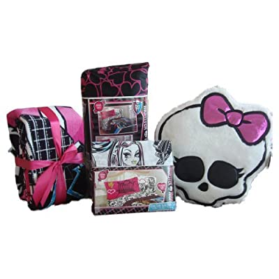 Great MONSTER HIGH Twin Bedding Set COMPLETE Comforter Sheets Fleece Blanket u Skull Pillow