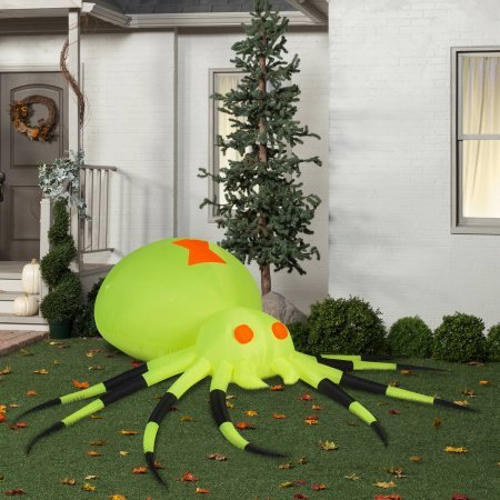 [Gemmy Airblown Inflatable 3.5' X 11.5' Giant Neon Green Spider Halloween Decoration] (Poseidon Greek God Costume)