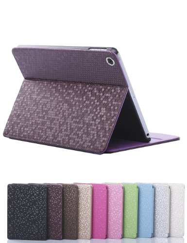 Diamond Bling Sparkly Leather Case Cover For Apple Ipad Air /5 Ipad Mini1/2 Ipad2/3/4 (Ipad Mini Retina Case-Purple) front-107895