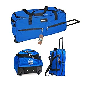 "24"" JEEP Branded Wheeled Holdall Duffel Bag Luggage Royal Blue"