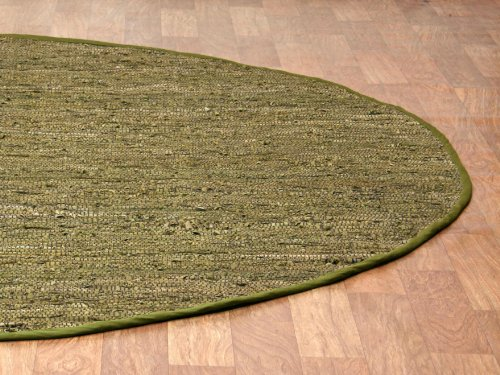 Matador Leather Chindi Round Rug, Green, 6 by 6-Feet