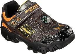 Skechers Boys\' Hot Lights Damager II Adventure 2.0 Trail Sneaker,Chocolate/Orang