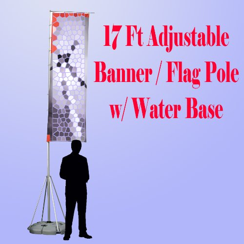 "17 Ft Giant Telescopic Adjustable Flag Banner Pole Stand Water Filled Base Aluminum "" Portable"